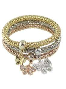 Elastic Multicolors Chain Bracelet With Rhinestone Butterfly Charms