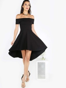 Bardot Skater Dress BLACK