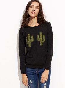Black Patch Long Sleeve Sweater