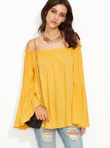 Yellow Tiered Bell Sleeve Off The Shoulder Top