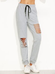 Heather Grey Ripped Drawstring Sweatpants