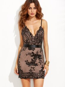 Black Spaghetti Strap Open Back Sequins Bodycon Dress