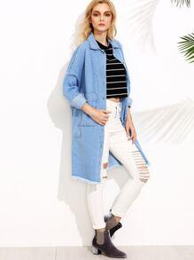Blue Drop Shoulder Dual Pocket Front Frayed Denim Coat