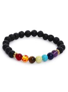 Multicolor Beaded Faux Stone Stretch Bracelet