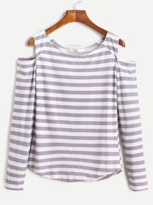 Contrast Striped Open Shoulder T-shirt