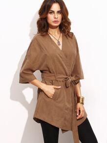 Khaki Tie Waist Pocket Half Sleeve Kimono