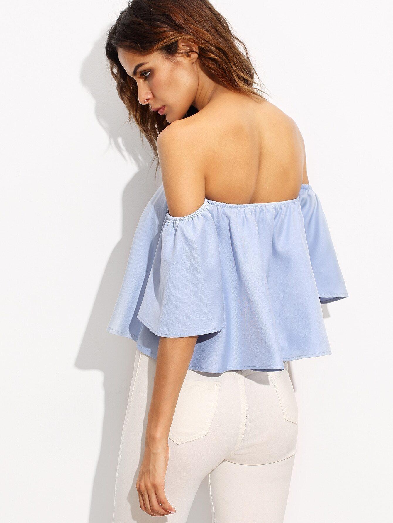 Blue Off The Shoulder Bell Sleeve Crop Top EmmaCloth-Women Fast ...