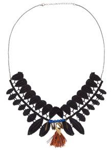 Black Fringe Beaded Lace Statement Necklace