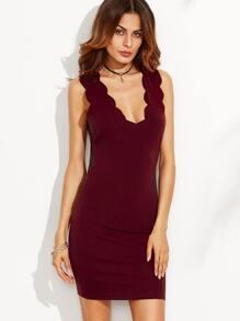 Burgundy Scallop V Neck Sleeveless Sheath Dress