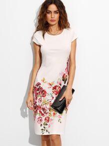 White Rose Print Cap Sleeve A Line Dress