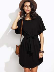 Black Dolman Sleeve Self Tie Curved Hem Dress