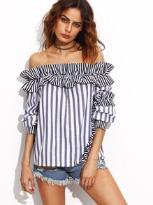 Navy Vertical Striped Off The Shoulder Top With Frill Detail