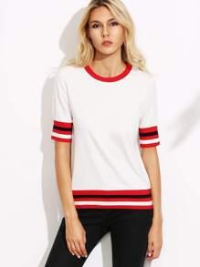 White Striped Trim T-shirt