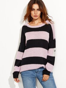 Contrast Wide Stripe Drop Shoulder Letter Pattern Sweater