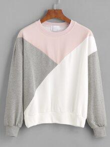 Color Block Drop Shouder Sweatshirt