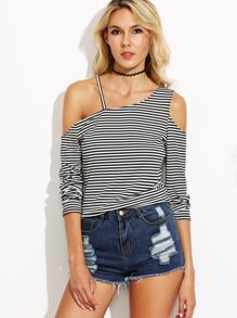 Black And White Pinstripe Cold Shoulder T-shirt