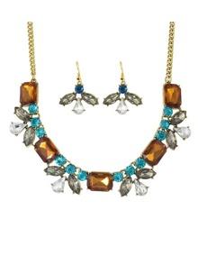 Coffee Rhinestone Flower Jewelry Set