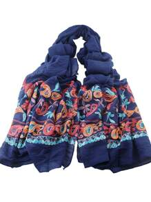 Navyblue Bohemian Style Flower Printed Scarf For Ladies