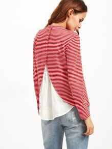 Red Striped Contrast Eyelet Embroidered Trim T-shirt