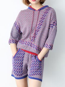 Purple Hooded Knit Top With Pockets Shorts