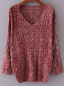 Red V Neck Loose Textured Sweater