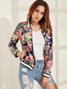 Multicolor Flower Print Striped Trim Bomber Jacket