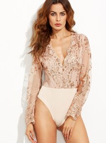 Scalloped V Neck Sequins Embroidered Long Sleeve Gold Bodysuit