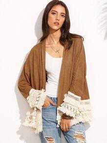 Brown Tassel Hem Long Sleeve Kimono