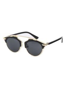 Black Frame Metal Trim Architectural Sunglasses