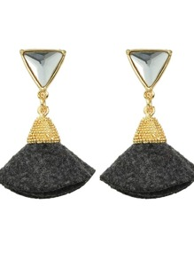 Black New Rhinestone Fan Shape Drop Earrings