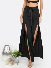 Waist Tie Slit Pants BLACK