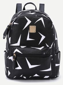 Black Triangle Print Metal Embellished Zip Pocket Backpack