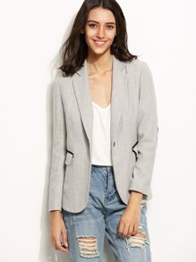 Grey Chevron Tweed Blazer With Elbow Patch