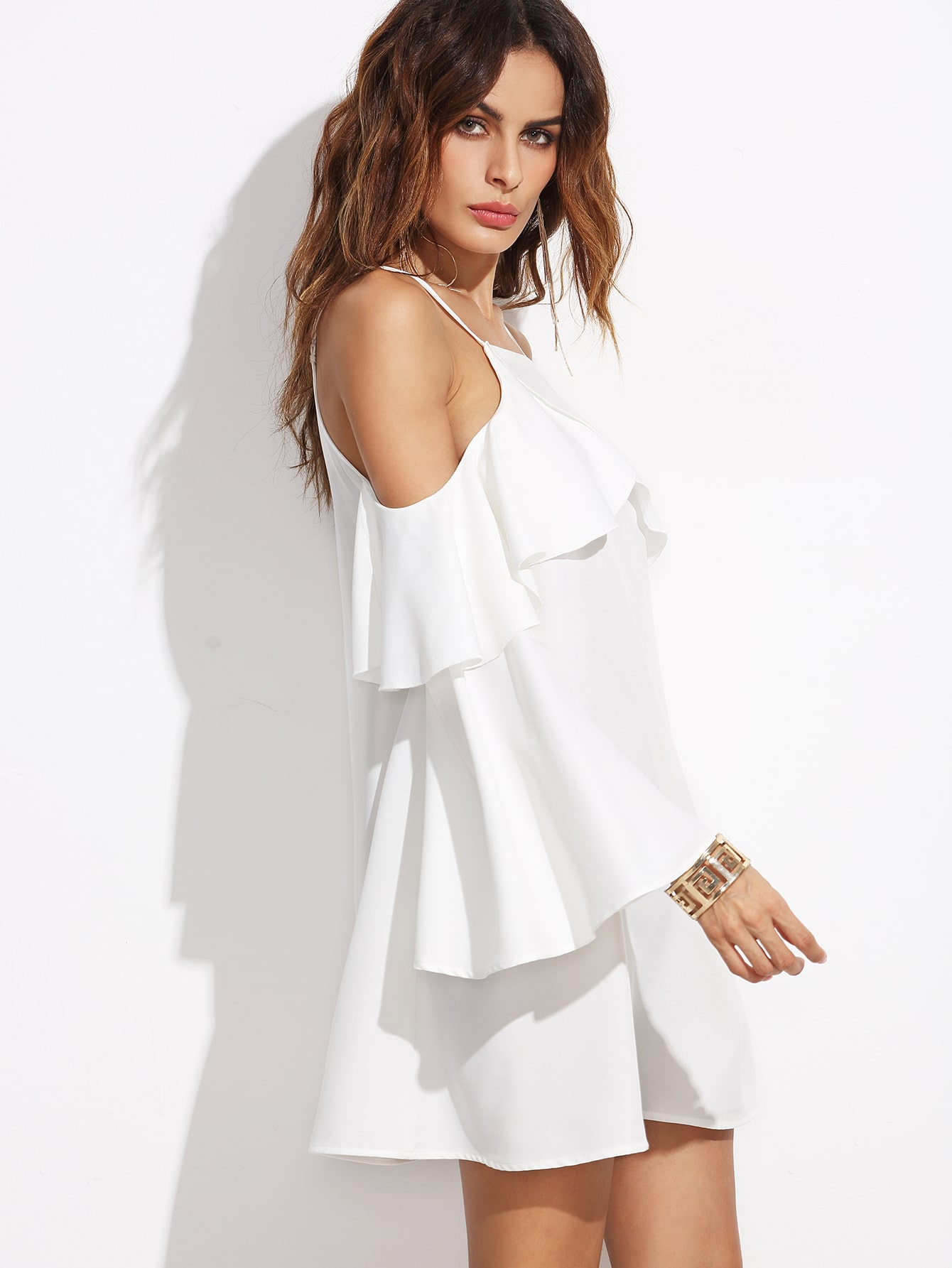 White Ruffle Trim Cold Shoulder Dress EmmaCloth-Women Fast Fashion ...