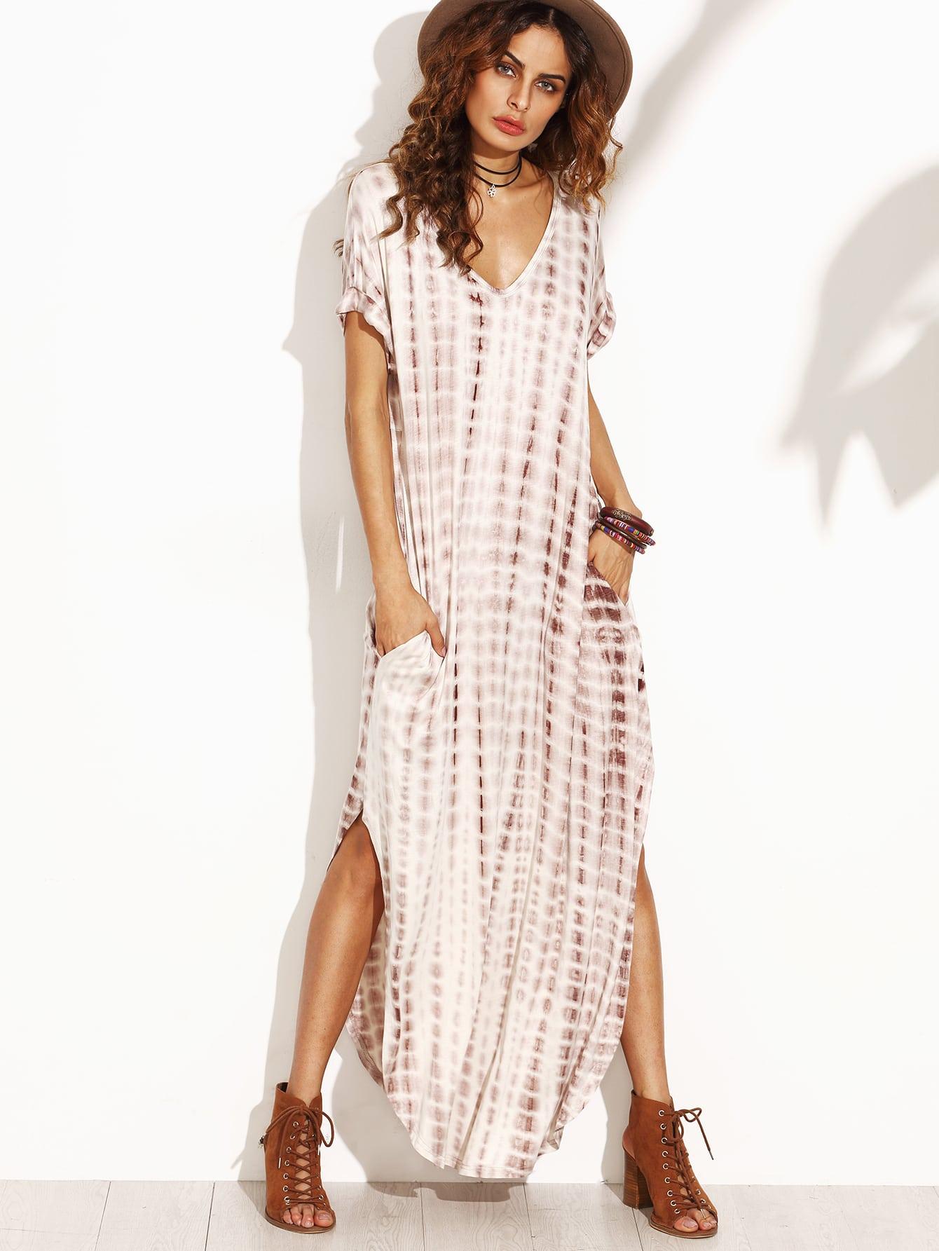 White tie dye maxi dress
