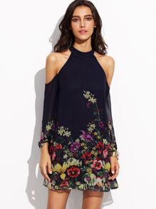 Navy Flower Print Keyhole Halter Neck Cold Shoulder Dress