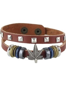 New Design Brown Pu Leather Adjustable Bracelet