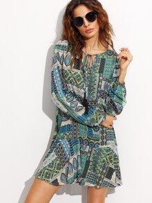 Green Ornate Patchwork Print Tie Neck Tunic Dress