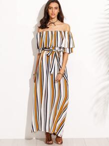 Vertical Print Off The Shoulder Maxi Dress