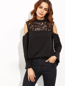 Black Lace Illusion Neckline Open Shoulder Top
