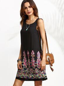 Black Tribal Embroidery Scoop Neck Tank Dress