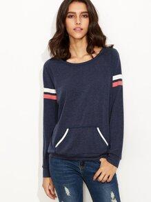 Navy Varsity Striped Sleeve Sweatshirt