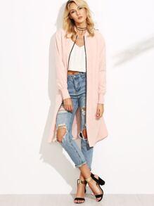 Pink Ribbed Trim Zip Up Satin Bomber Coat