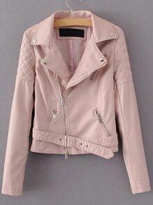 Pink Quilted Shoulder PU Zipper Jacket With Belt