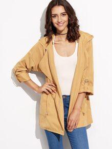 Mustard Yellow Drawstring Pockets Hooded Coat