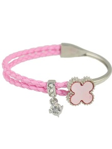 Hotpink Rhinestone Braided Pu Leather Chain Link Bracelet
