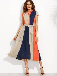 Color Block Bow Tie Waist Buttons Midi Dress