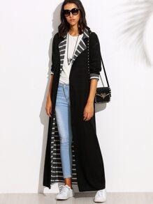 Black Lapel Long Sleeve Convertible Maxi Outerwear