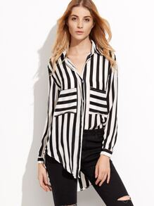 Contrast Striped Pockets High Low Shirt