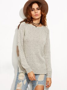Apricot Elbow Patch Side Slit Fleck Sweater